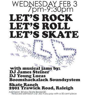 flier for guybrarians at roller skating rink