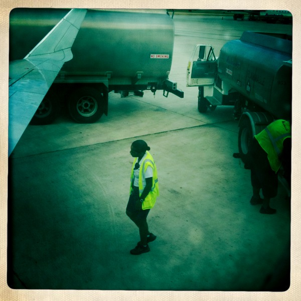airplane worker walking