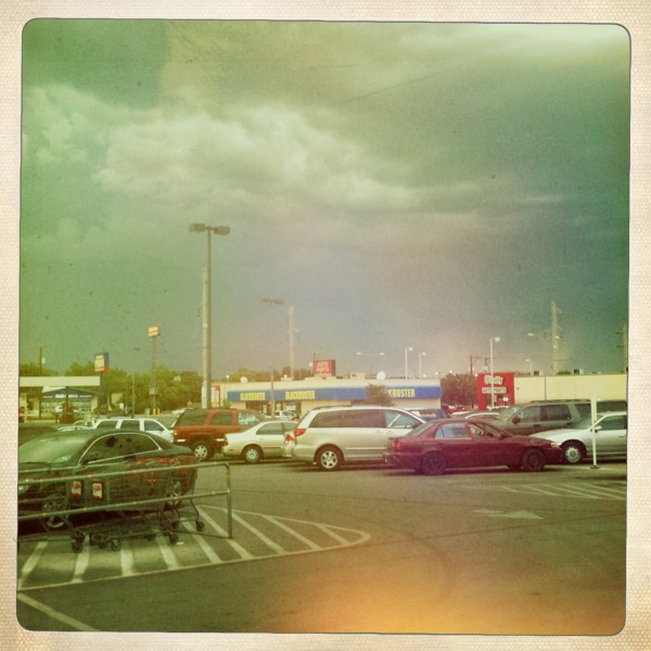 whole parking lot on a stormy day