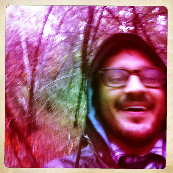 blurry David photo on the hiking trail