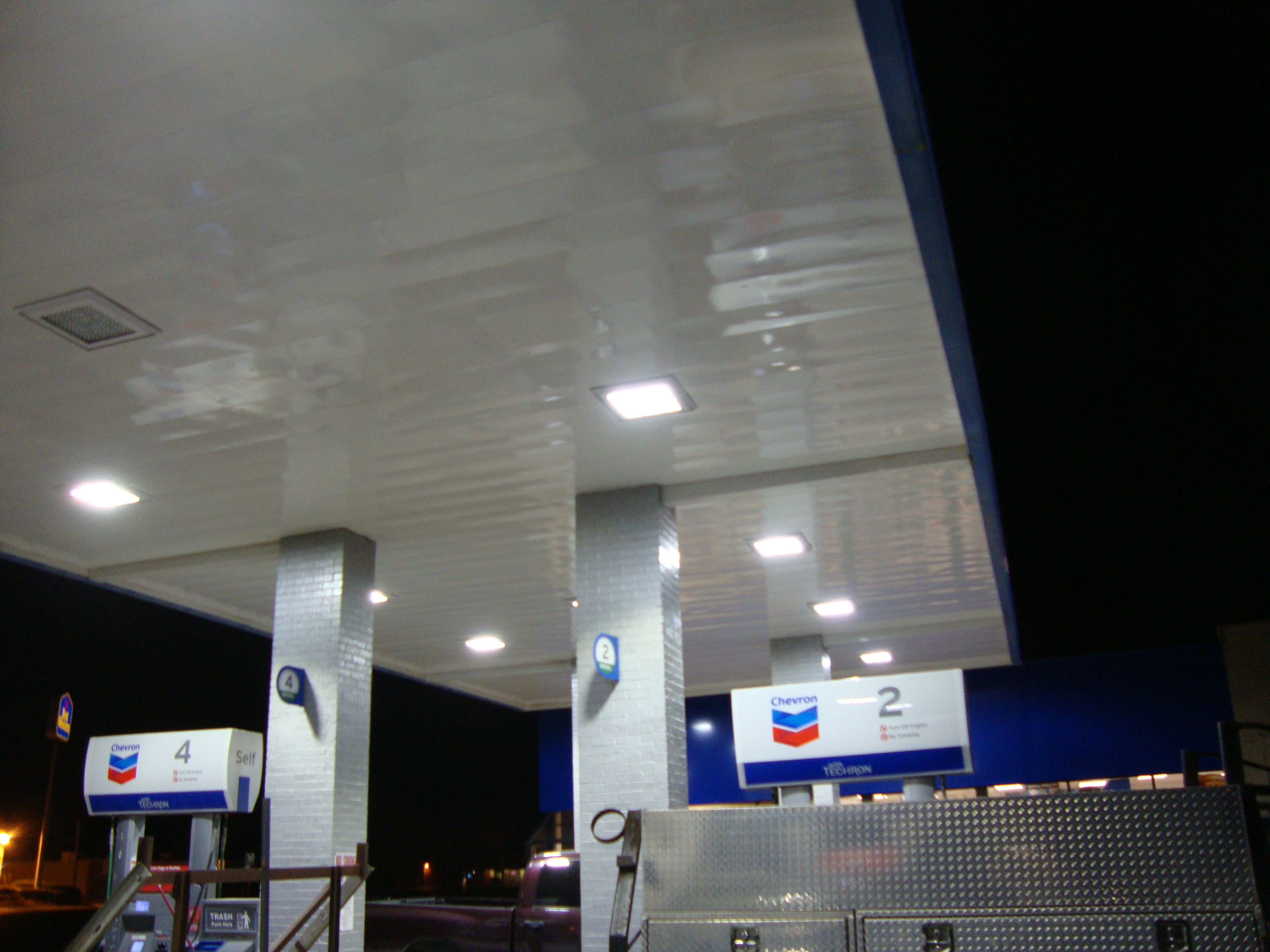 chevron gas station at night