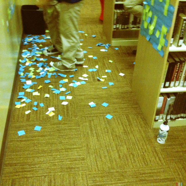 post it notes on the floor